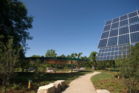 td: London, ON � June 26, 2012 � The TD Green Energy Park in London, Ontario. The park powers Canada�s first net-zero energy bank branch, which features 244 solar panels and a dual electric car charger for customers.  Editorial