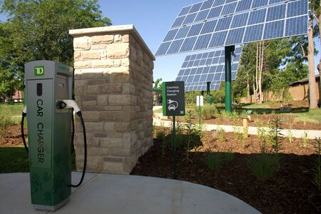 dominion: London, ON � June 26, 2012 � The TD Green Energy Park in London, Ontario. The park powers Canada�s first net-zero energy bank branch, which features 244 solar panels and a dual electric car charger for customers.  Editorial
