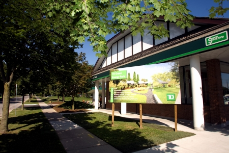 td: London, ON – June 26, 2012 – The TD Green Energy Park in London, Ontario. The park powers Canada's first net-zero energy bank branch, which features 244 solar panels and a dual electric car charger for customers.  Editorial