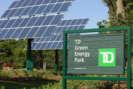 td: London, ON – June 26, 2012 – The TD Green Energy Park in London, Ontario. The park powers Canada's first net-zero energy bank branch, which features 244 solar panels and a dual electric car charger for customers.