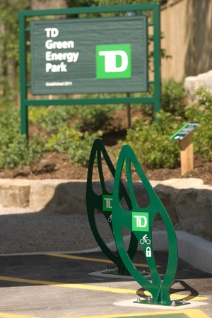 dominion: London, ON � June 26, 2012 � The TD Green Energy Park in London, Ontario. The park powers Canada�s first net-zero energy bank branch, which features 244 solar panels and a dual electric car charger for customers.