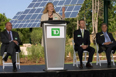 td: London, ON � June 26, 2012 � Karen Clarke-Whistler addresses guests at the opening of TD`s Green Energy Park. The TD Green Energy Park in London, Ontario. The park powers Canada�s first net-zero energy bank branch, which features 244 solar panels and a du