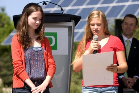 essays: London, ON – June 26, 2012 – Students from Masonville Public School read essays they have written on seed paper. The paper was later planted into the ground where it will break down and bloom into plants. The TD Green Energy Park in London, Ontario. The p