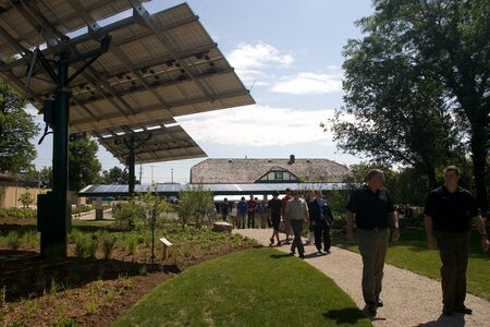 td: London, ON � June 26, 2012 � The TD Green Energy Park in London, Ontario. The park powers Canada�s first net-zero energy bank branch, which features 244 solar panels and a dual electric car charger for customers.