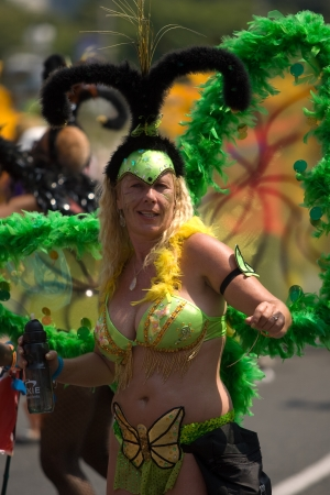 Toronto Ontario, Canada - August 4, 2012. The 47th annual Toronto Caribbean Carnival parade made its way down Lakeshore Avenue on a very hot August day. Formerly known as Caribbana, masqueraders in feather and sequined costumes entertained the crowd who l