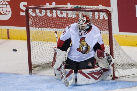 senators: Ottawa goalie Francois Brassard, makes a save during a game at the 2013 National Hockey League Rookie Tournament being played at the Budweiser Gardens in London Ontario, Canada on September 5, 2013. The Ottawa Senators defeated the Pittsburg Penguins by a Editorial