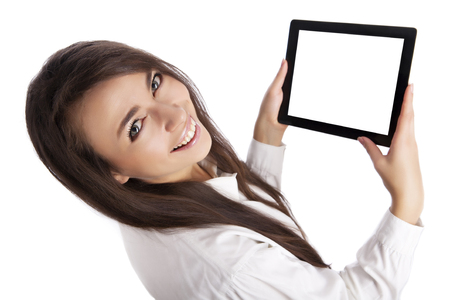 Girl with tablet on white photo