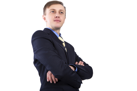 seeks: Caucasian business man, standing with hands clasped. Isolated on white background. Stock Photo