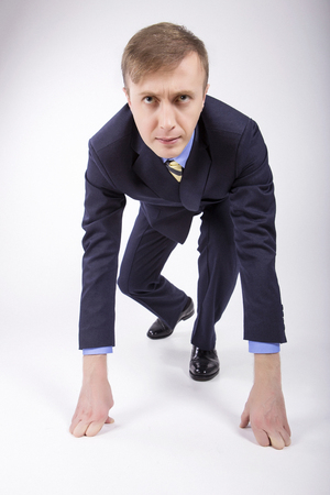 seeks: Caucasian business man, seeks to start a business. Concept start.