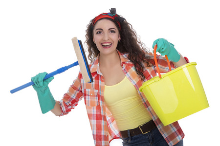 purge: Beautiful happy caucasian girl with housekeeping cleaning tools. Isolated over white background
