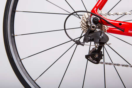 rear wheel: Bicycle Concept. Part of the rear wheel, gear, chain. On a white background.