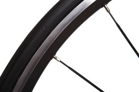 wheeling: Bicycle Concept. Part of the wheel, tire, spokes. On a white background.