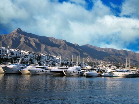 puerto: view of puerto banus harbour, puerto banus, spain, costa del sol