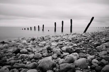 groynes: Groynes and Rocks Seascape, Wales, UK