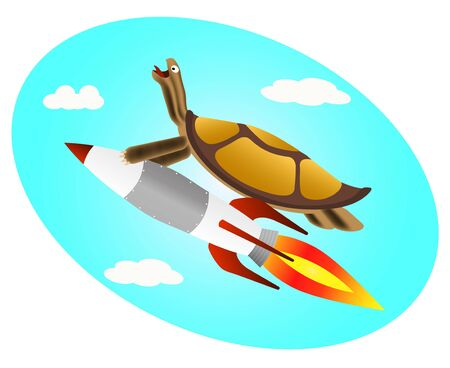 the image of a Tortoise flying on a rocket into space at high speed
