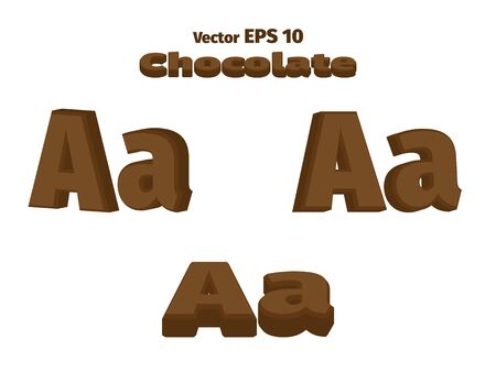 3D Chocolate letter A, three options Illustration