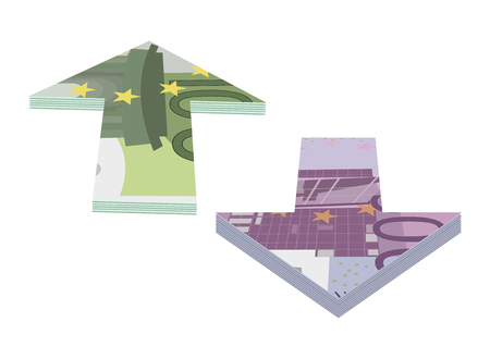 arrows of banknotes one hundred and five hundred euros Illustration