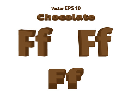3D Chocolate letter F, three options