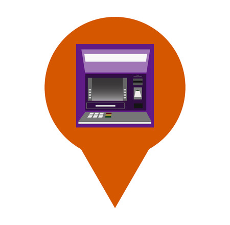icon with a pointer to the location of the ATM Иллюстрация