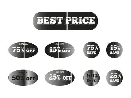 holographic stickers with the inscription best price, silver glow 向量圖像