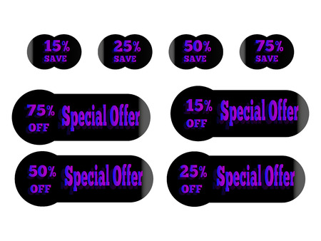 holographic stickers with the inscription special offer, purple glow