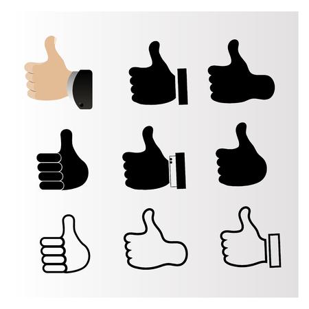 Set iconen met de afbeelding van de duim omhoog