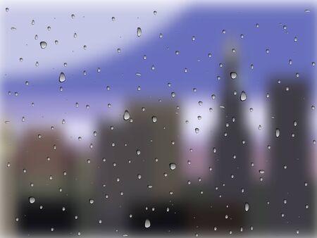 regendruppels op glas, een stad buiten het raam