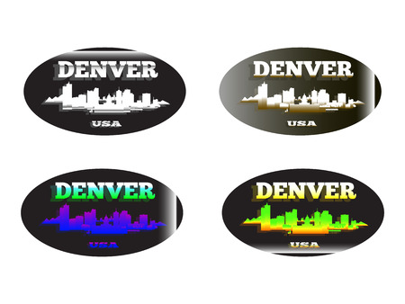 holographic sticker with the image of the city of  Denver