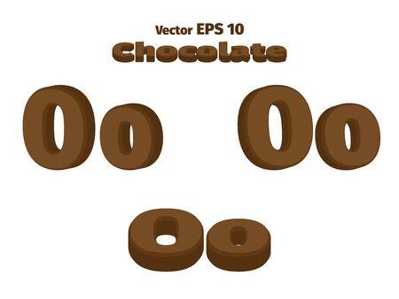3D Chocolate letter O, three options Ilustração