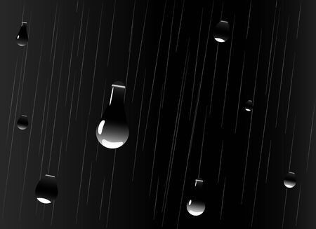 rainfall: large drops of rain falling, the night sky Illustration