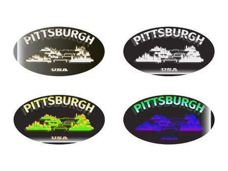 holographic sticker with the image of the city of Pittsburgh
