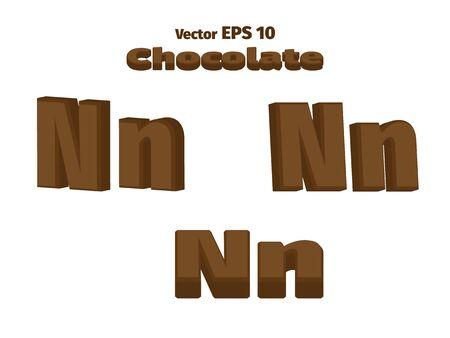 3D Chocolate letter N, three options Ilustrace