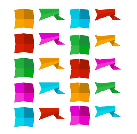 set of blank banner shapes in different colors