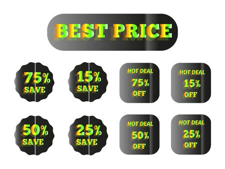 set of holographic stickers with the inscription best price, with a yellow and green glow 向量圖像