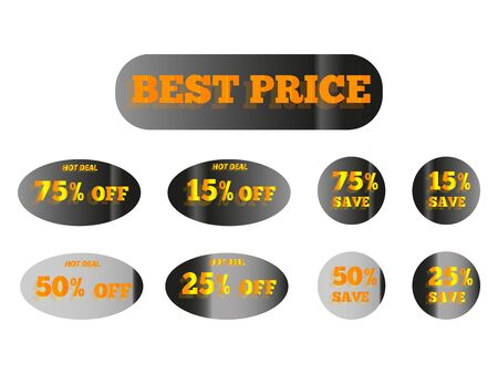 holographic stickers with the inscription best price, golden glow