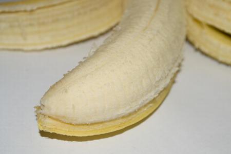 peeled banana: Peeled banana front view