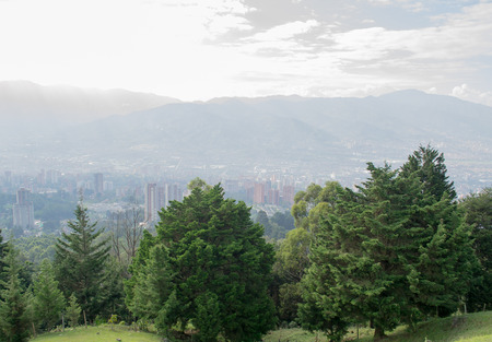 Countryside landscape with city view panorama  in Medellin, Colombia, South America Stock Photo