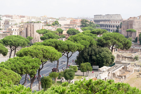 Spectacular panorama of ancient Roman empire - currently Rome, Italy