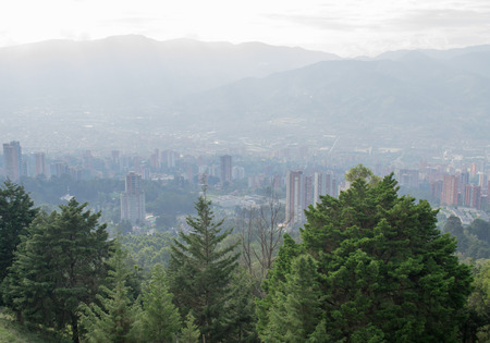 america countryside: Countryside landscape with city view panorama  in Medellin, Colombia, South America Stock Photo