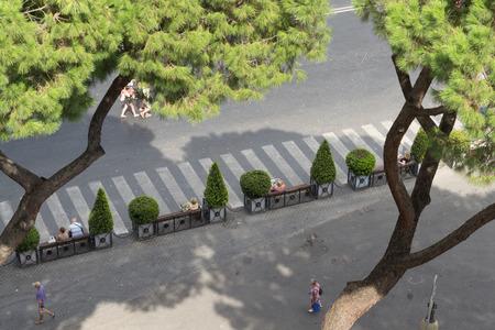 Unusual angle street sight of Rome, Italy