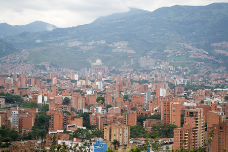 Amazing panorama of modern South American city Medellin, Colombia