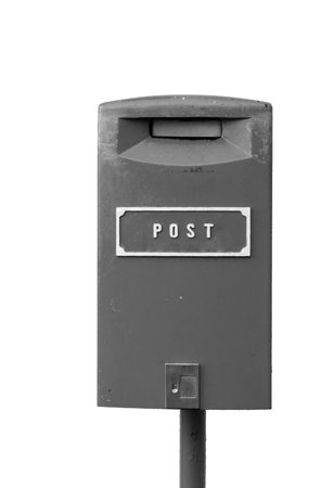 Black and white image of the postbox isolated on the white background Stock Photo - 54929018