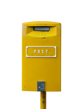 Yellow postbox with white lettering isolated on the white background Stock Photo - 54929023