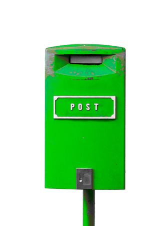 Green postbox with white lettering isolated on the white background Stock Photo