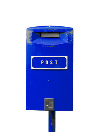 Blue postbox with white lettering isolated on the white background Stock Photo