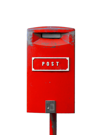 Red postbox with white lettering isolated on the white background Stock Photo