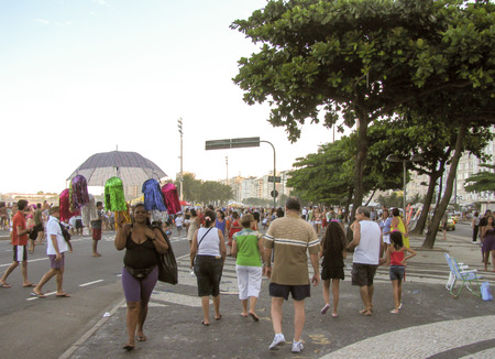 Rio de Janeiro, Brazil - February 22: local people and tourists all around the world are being entertained by street entertainers the day before Carnival on February 22, 2009 Stock Photo - 57925408
