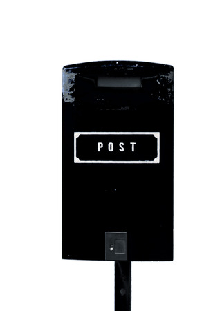 Black postbox with white lettering isolated on the white background