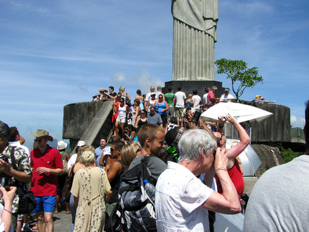 Rio de Janeiro, Brazil - February 20: tourists from all around the world making pitures at the statur of Christ the Redeemer in Rio de Janeiro on February 20, 2009