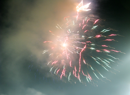 Abstract firework patterns in the night sky Stock Photo - 58173365